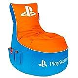GAMEWAREZ PlayStation Vivid Gaming Sitzsack,Made in Germany,für PS4,XBOX360,XboxOne,Nintendo DS,Nintendo Switch,Smartphone.Blau-orange mit weißem Keder im PS-Design,Tasche und Kopfhörerhalterung