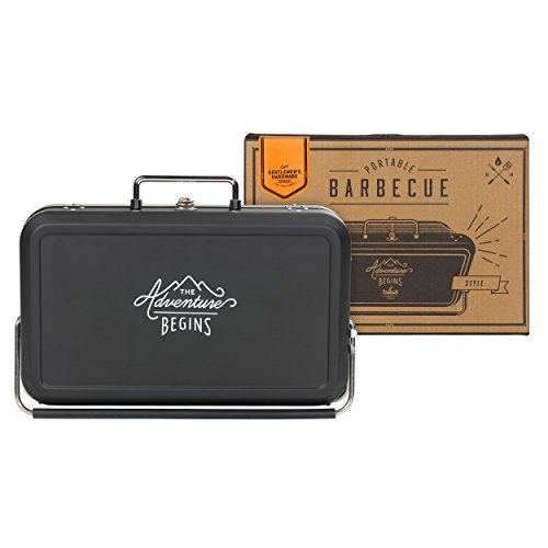 "As the title suggests, the Gentleman's Hardware Small Suitcase Style BBQ is intelligently disguised as a suitcase so you can carry it wherever the adventure takes you as a true gent. It has a classic black casing with the motto ""The Adventure Begins"" printed on either side."