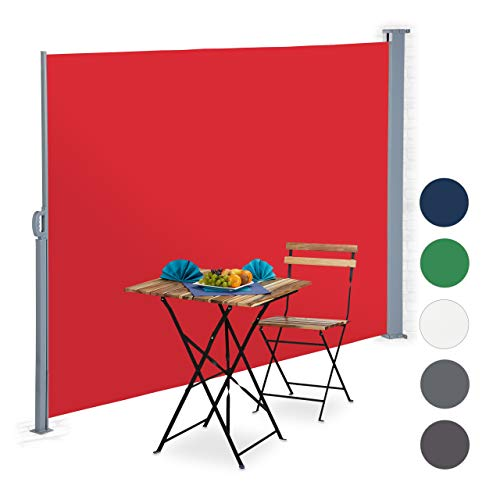 Relaxdays ausziehbare Seitenmarkise, Sichtschutz für Balkon, Terrasse, Wand-, Bodenmontage, Seitenrollo 180x300 cm, rot