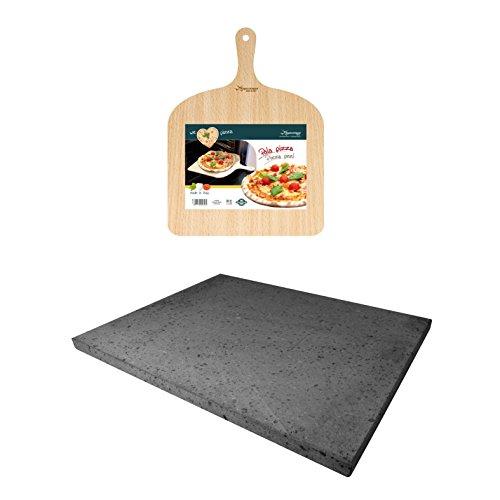 SET PER PIZZA IN PIETRA LAVICA ETNEA 38X30 CM - TEGLIA + PALA