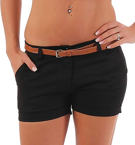 Malito Damen Chino Shorts in Unifarben | lässige Kurze Hose | Bermuda für den Strand | Pants - Hotpants 5397 (schwarz, L)