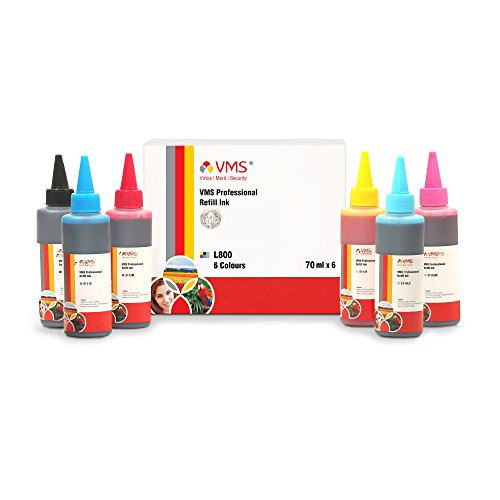 Vms Professional Foto Color Refill Ink All Inkjet Printers Ink L800 70 ml Multicolor Set Of 6 (Cyan, Light Cyan, Magenta, Light Magenta, Yellow, Black) (491-496)