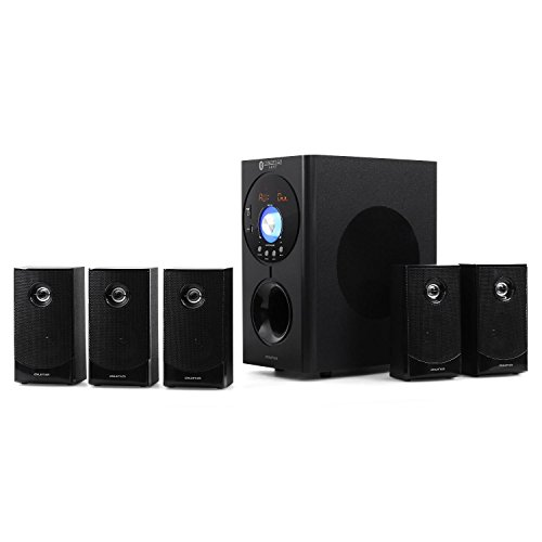 Auna Concept 620 • Home Theater • Sistema Audio 5.1 • Potenza Max 250W • Radio AM/FM • Ingresso AUX • Interfaccia Bleutooth • Ingressi USB e SD • Telecomando • Colore Nero