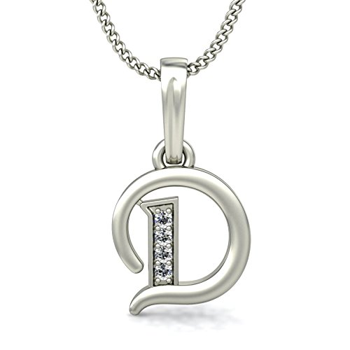 Chandrika Pearls Gems & Jewellers 24K Silver White Gold/Platinum Plated Copper A-Z Letters Initial Pendant (D) Necklace for Girls