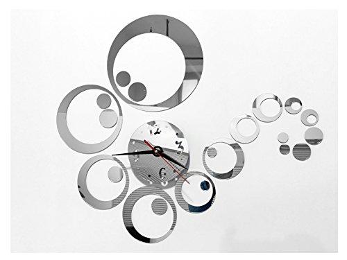 Tofern 3D Fai da Te Splendido Orologio da Parete Adesivi Removibile Specchio Argento Murales Decal Casa Soggiorno Camera da Letto Decorazione (Circolo)