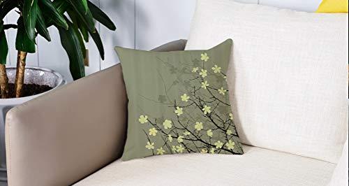 Creativo copricuscino,Set giapponese, retrò stilizzato fiorente Twiggy Eastern Blossoms botanico metaforico concetto di vita, S,Stampate Federe Cuscino Divano Decorazione Cuscino Copertina -45 x45cm