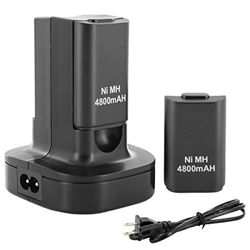 NeitKaarsh India Dual Charger Base Charging Station Dock with 2 Rechargeable Battery 4800mAh Xbox 360 Controller Single Item.