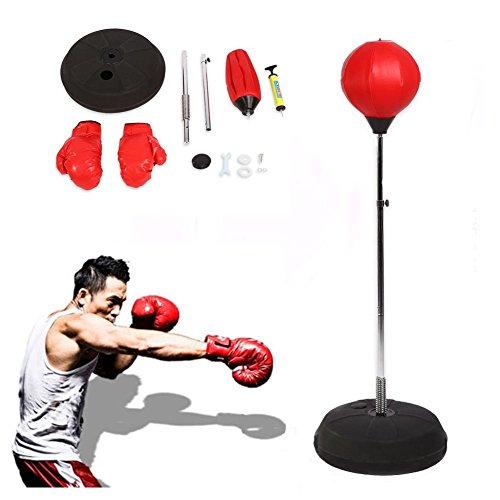Punching ball per adulti, set con guantoni e supporto regolabile in altezza, per allenamento,...