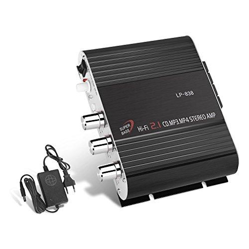 GHB Amplificatore Audio Stereo Auto Mini Amplificatore Auto e Casa 200W Dual-Use 2.1CH per Moto...