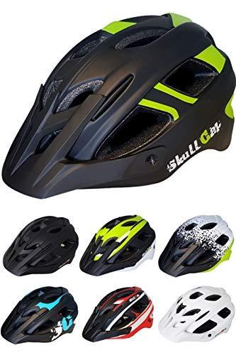 Skullcap® Fahrradhelm ♦ MTB Helm ♦ Mountainbike Helm ♦ Herren & Damen ♦ Schwarz/Neon-Grün matt ✚ Visier/Helmschild, M (55-58 cm)