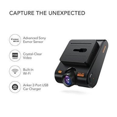 Anker-ROAV-DashCam-C1-Wifi-Auto-Kamera-mit-Sony-Exmor-Sensor-1080P-Full-HD-145-Weitwinkel-Nachtsicht-mit-G-Sensor-WDR-Schleifenaufnahme-und-Nacht-Modus-inkl-Anker-2-Port-Kfz-Ladegert-mit-Power-IQ-Tech