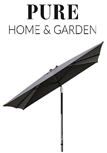 Pure Home & Garden Kurbelschirm Sunrise 300 x 200 anthrazit, mit UV-Schutz 40 Plus, Knicker und abnehmbarem Bezug