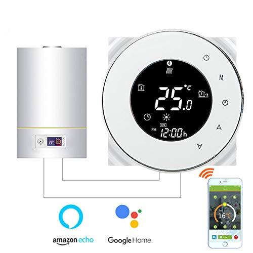 Thermostat WiFi pour chaudière gaz/eau,Thermostat intelligent Écran LCD Bouton tactile Rétro-éclairé programmable avec Alexa Google Home(NO google assistant) and Phone APP-White APP-Rond/Blanc