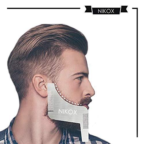 NIKOX Pettine Barba Uomo modellante in Acciaio Antistatico. Qualità Premium garantita da Nikox. Styling Taglio Barba. Accessori Barba.
