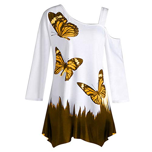 SHOBDW Mujeres Cuello Redondo de Hombro Camiseta de la túnica Mariposa Blusa Suelta otoño de Manga Larga para Mujer Tops(Naranja,L)