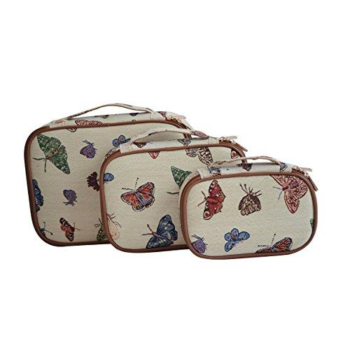 Signare tapiz cubos de embalaje accesorio de viaje juego de 3 organizadores en el diseñO Mariposa
