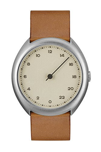 slow O 07 - Braun Vintage Leder Silber Fall Creme Zifferblatt Unisex Quarzuhr mit beigem Zifferblatt Analog-Anzeige und braunem Lederband
