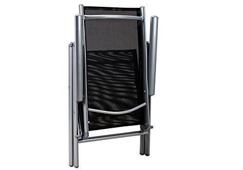Alu Sitzgruppe 8+1 Sitzgarnitur Gartengarnitur Tischplatte aus Glas + klappbare und neigbare Stühle - 5
