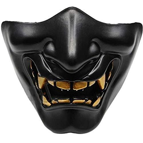 MYKK Maschera Mezzo Volto Maschera Adulti Halloween Diavolo Fantasia Party Cosplay Tattiche Demoni 15 13 cm Nero
