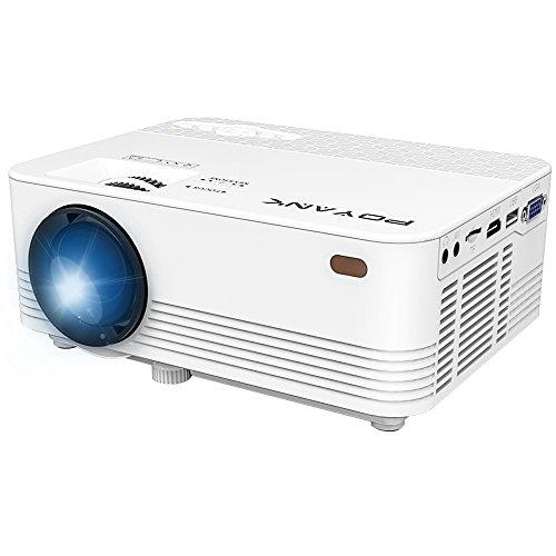 POYANK Projektor, Mini LCD Beamer, Videobeamer unterstützt 1080P, Verbindung mit TV Stick Spielkonsole Chromecast PC Laptop Smartphone Tablet HDMI, VGA, TF, USB , Heimkino Beamer, Weiß.