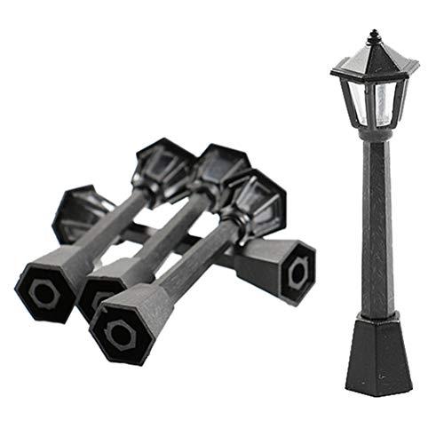VOSAREA 10 Pezzi lampioni lampioni lampioni Modello microscopico luci per la casa di Bambola in Miniatura Decorazione Nero