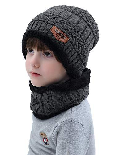 Aibrou Cappello Ragazzo Inverno 3-12 Anni Berretto Sciarpa Invernale Bambino 2 in 1 Beanie Bambino...