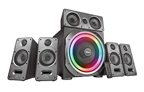 Trust GXT 698 Torro Set Altoparlanti Dolby Digital 5.1 Illuminato RGB per PC, PS4 e Xbox One, Potenza Totale di 180 Watt, Nero