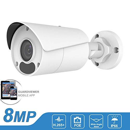 Telecamera IP POE di sicurezza esterna 4K (8MP-2592x1944P) HD con visione notturna di rilevamento del movimento, telecamera IP67 a pallottola CCTV ONVIF impermeabile