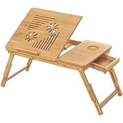 SONGMICS Mesa para ordenador portátil de Bambú LLD002