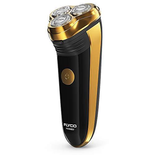 FLYCO Rasoio Elettrico,Rasoio Elettrico da Barba con Testine Rotanti Wet & Dry da Uomo,Regolabarba Rasoio Barba Elettrico Barba con Trimmer,60 Minuti di Uso Senza Filo