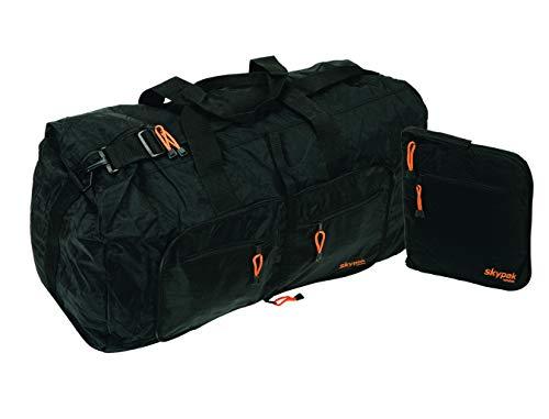 Skypak - Borsone pieghevole da viaggio 90 L, colore: Nero