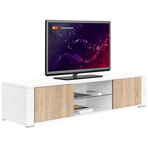comifort tv83-Mobile TV Soggiorno Moderno tavolo TV, Colori: Bianco, Legno di quercia,...