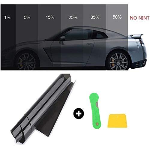 Gaosheng, Pellicola autoadesiva oscurante per finestrini dell'auto, pellicola nera con protezione UV, antigraffio, 50 cm x 3 m
