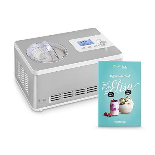 Gelatiera e Yogurtiera Elisa 2 in 1 con Compressore Autorefrigerante | 180W, 2L | Macchina per gelato & yogurt in acciaio inox con funzione mantenimento del freddo