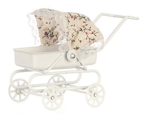 Miniatura Per Casa Delle Bambole Bambino Mobili Scuola Materna Accessorio Bianco Passeggino Floreale...