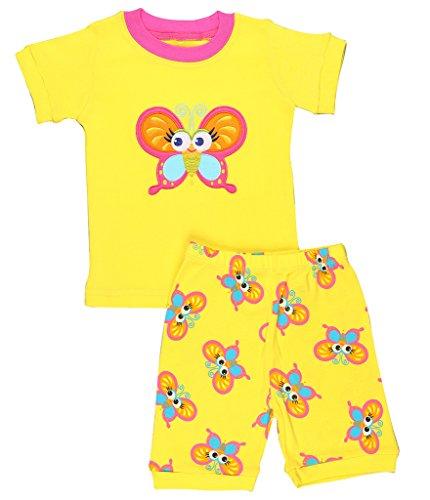 "Elowel Ninas ""Mariposa"" 2 piezas Conjunto de pijama corto 100% algodon (6 M-8 Anos) 5 anos"