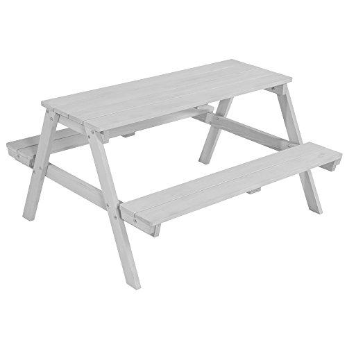 roba Kinder Outdoor Sitzgruppe \'Picknick for 4\', Sitzgarnitur mit 2 Bänken und 1 Tisch aus Holz für drinnen und draußen, wetterfest, grau lasiert