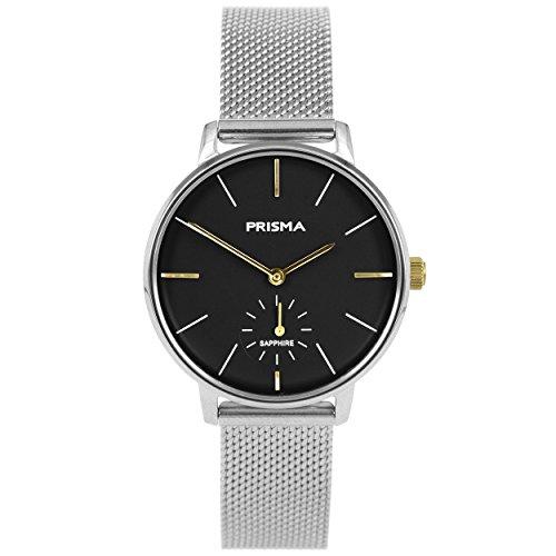 Prisma Damen Armbanduhr Retro Corum, Edelstahl silber mit Analog Quarzwerk, 5 ATM und Saphirglas P.1444