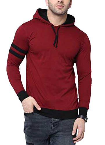 Fenoix Men's Cotton T-Shirt Full Sleeve Hooded Maroon-Medium