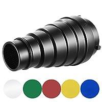 Nota:    1. La luce del flash e il supporto esterni NON sono inclusi.    2. Si prega di rimuovere la pellicola dal filtro prima dell'uso.    Descrizione:    Perfetto come luce per capelli, luce d'accento drammatica o modulatura di controluce per c...