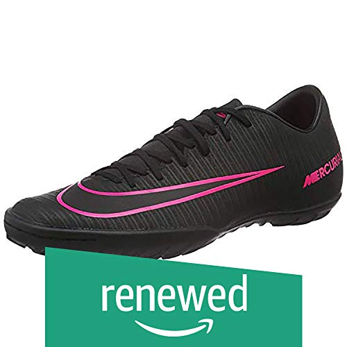 (Renewed) Nike Men's MercurialX Victory VI TF Black/Black/Pink Blast Turf Soccer Shoe 9 Men US