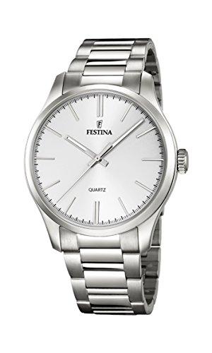 Festina, F16807/1, orologio al quarzo da uomo, quadrante argento, display analogico e cinturino di...