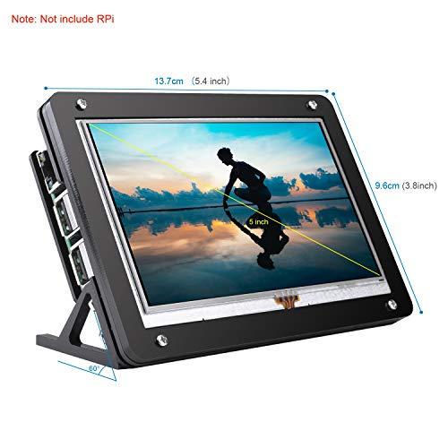 Kuman 5 inch Resistive Touch Screen with Protective Case 800x480 HDMI TFT LCD Display Module for Raspberry Pi 3B+/3B 2 Model B RPi 1 B B+ A A+ SC5AC