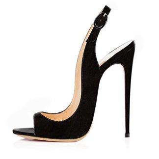 b28810a352 elashe - Scarpe da Donna - Peep Toe Slingback Sandali - Tacco a Spillo con  Cinturino Caviglia Fibbia Camoscio Nero EU37