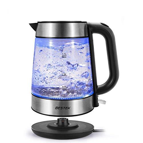 BESTEK LED Glas Wasserkocher 1.7L 3000 Watt Edelstahl Teekocher mit abnehmbar kabellos kalkfilter BAP Frei und Automatische Abschaltung Überhitzungsschutz Elektrisch Glaswasserkocher