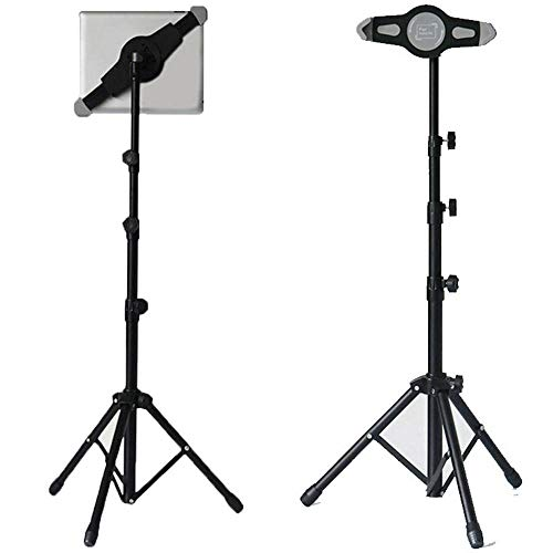 Tablet Tripod Floor Stand, Height Adjustable Universal Tablet Mount Holder Stand for IPad Mini, IPad Air, IPad 1,2,3,4 and All 8-12 Inch Tablets