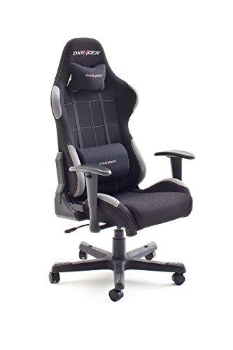 Robas Lund 62505SG8/62505SG4 Racer5 - Silla con reposabrazos, (nailon negro, 78 x 52 x 124-134 cm), color negro y gris