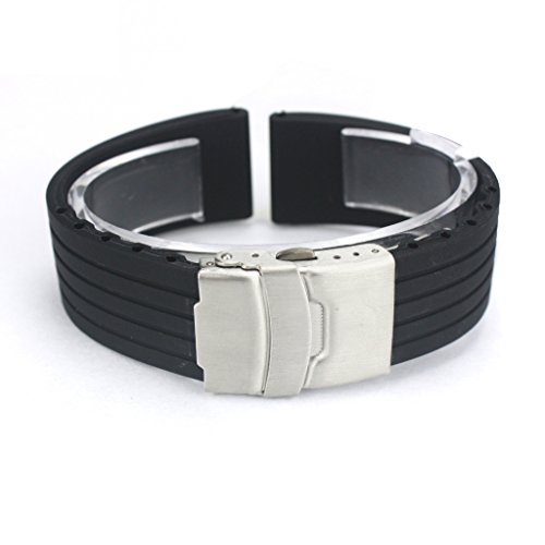 Japace Sport Cinturino da Polso Impermeabile Bracciale Cinghia in Silicone Accessori per Orologio Rubber Wristband Bracelet Strap Band for Watch 20mm - Nero