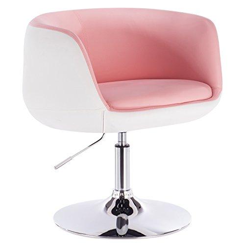 WOLTU Poltrona da Bar Sedia Girevole Sgabello Cucina Poltroncina in Ecopelle Acciaio Cromato Regolabile Moderno 1 Pz Pink+Bianco