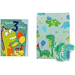 Dinosaurio de tres años de edad, 3 años de edad, paquete de tarjeta de cumpleaños con 2 dinosaurios papel de regalo y etiquetas de regalo de dinosaurio